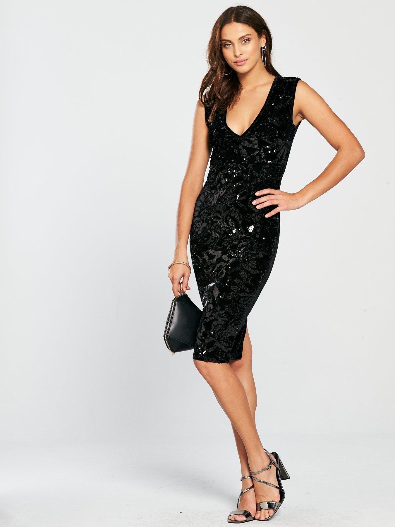 a9ca440c8de8 AX Paris V Front Sequin Velvet Dress - Black | littlewoodsireland.ie