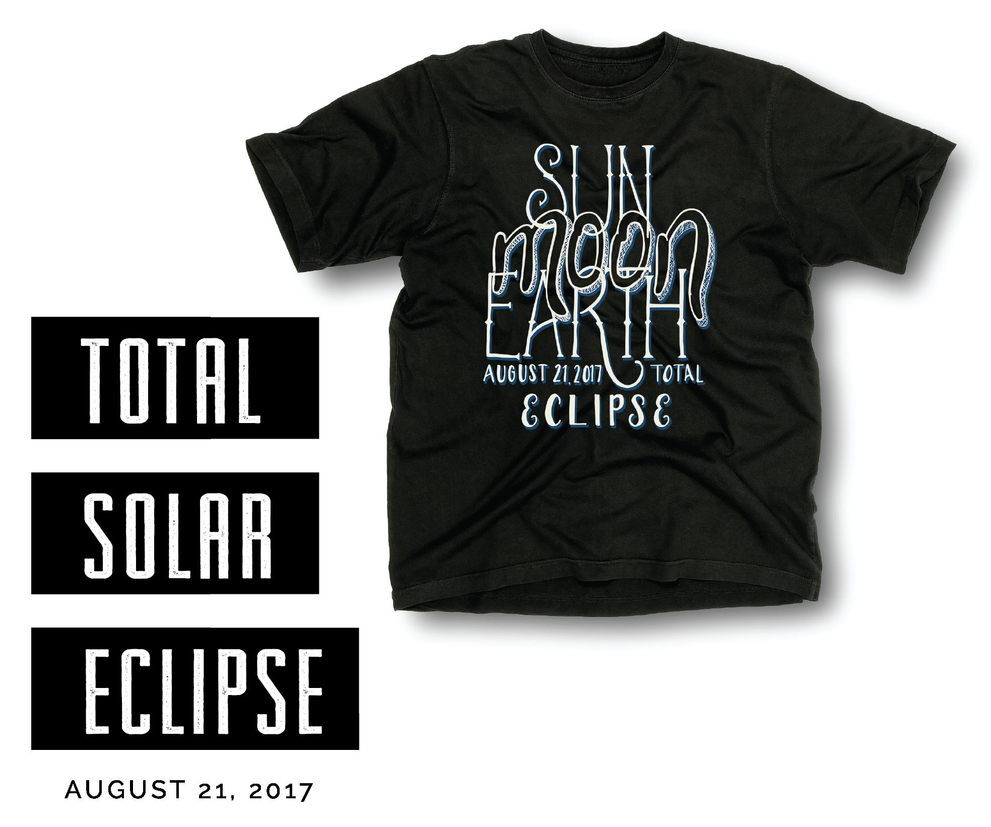 Solar Eclipse Hand Lettering T Shirt Design T Shirt Design