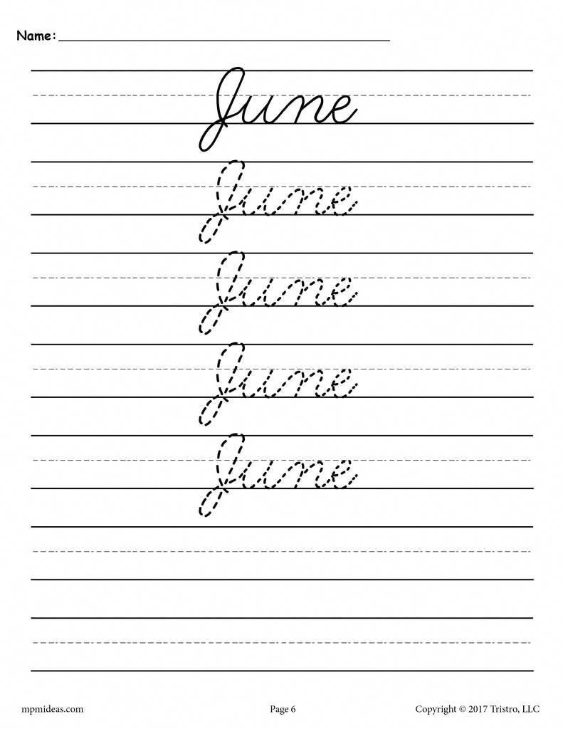 12 Free Months Of The Year Cursive Handwriting Worksheets Cursive Handwriting Worksheets Learn Handwriting Cursive Handwriting