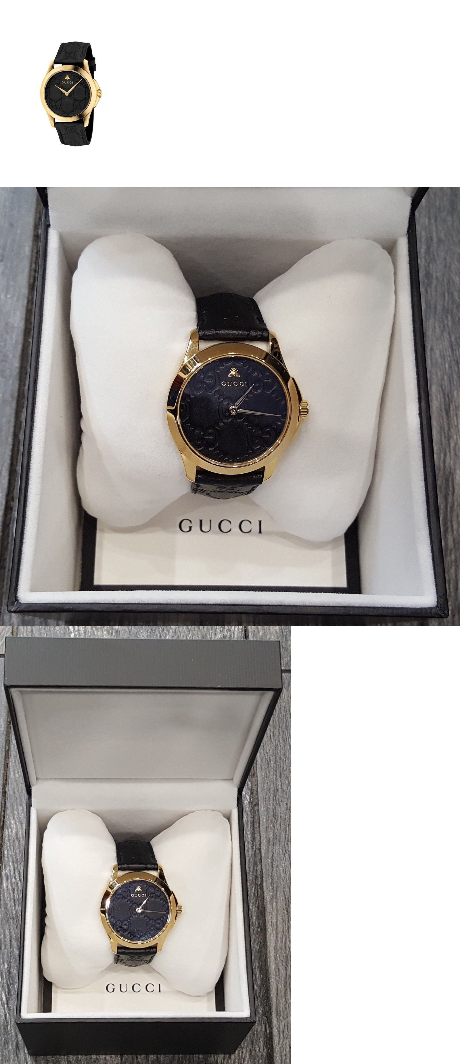 422a8f248bf Other Jewelry and Watches 98863  Gucci G-Timeless Signature Leather Strap  Dial Watch Black-Gold 38Mm Ya1264034 -  BUY IT NOW ONLY   899.99 on eBay!