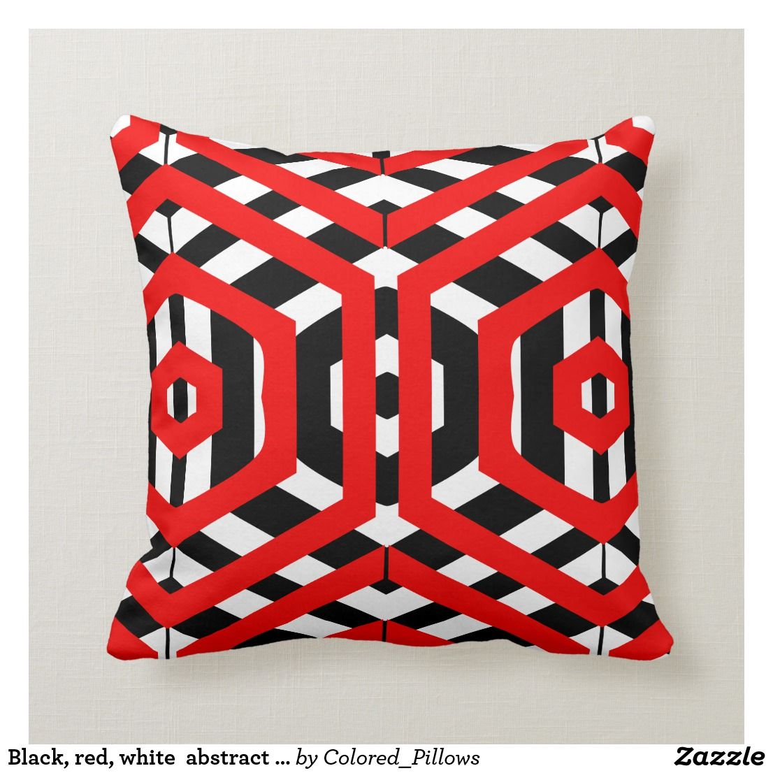 Black Red White Abstract Pattern Solid Back Throw Pillow Zazzle Com With Images Pillows Throw Pillows Black Decorative Pillows