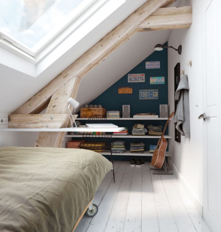 Fen tre de toit 114 x 118 cm amenagement combles chambre Chambre sous toit