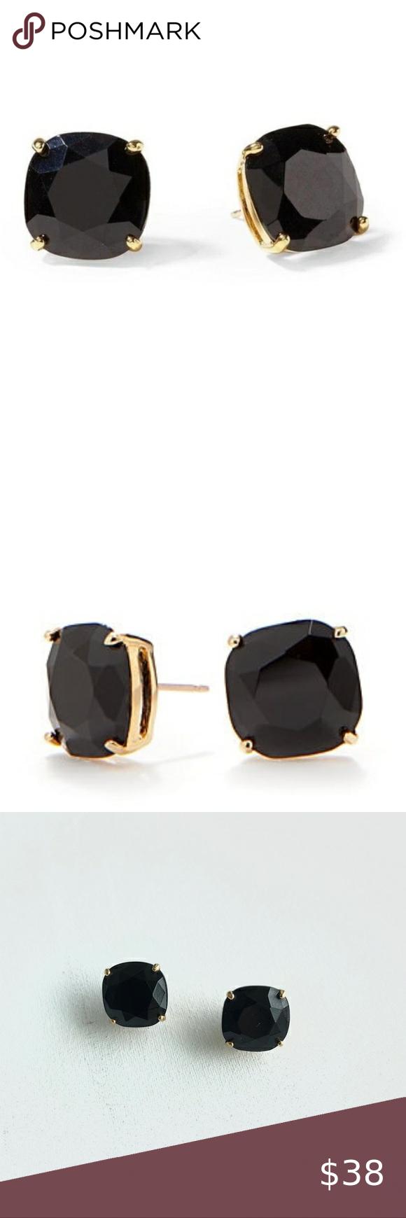 Nwot Kate Spade Small Square Enamel Earrings Black Enamel Earrings Enamel Stud Earrings Kate Spade Jewelry Earrings