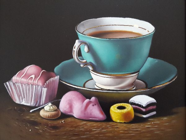 Foodtealife: Turquoise Teacup With Cake And Sweets By Lucy Crick