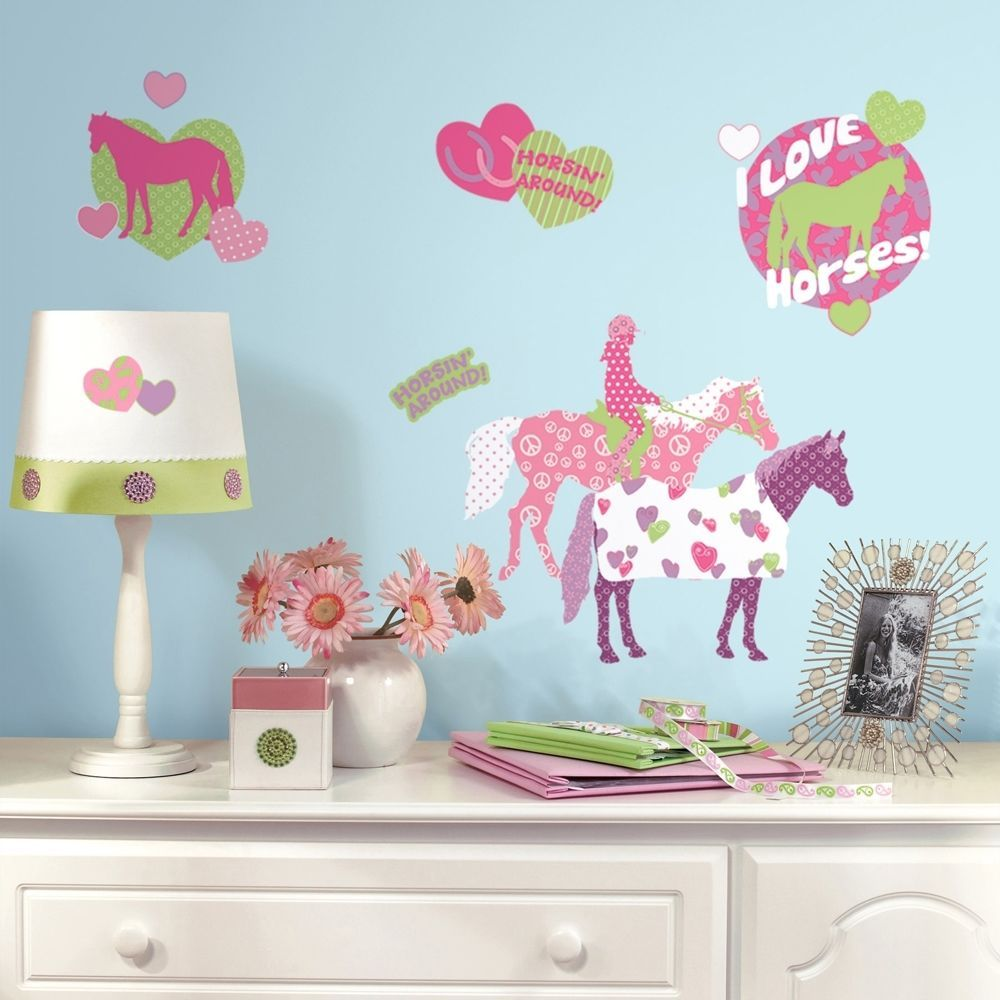 44 New HORSE CRAZY WALL DECALS Girls Horses Stickers Pink Bedroom Decor  #Roommates