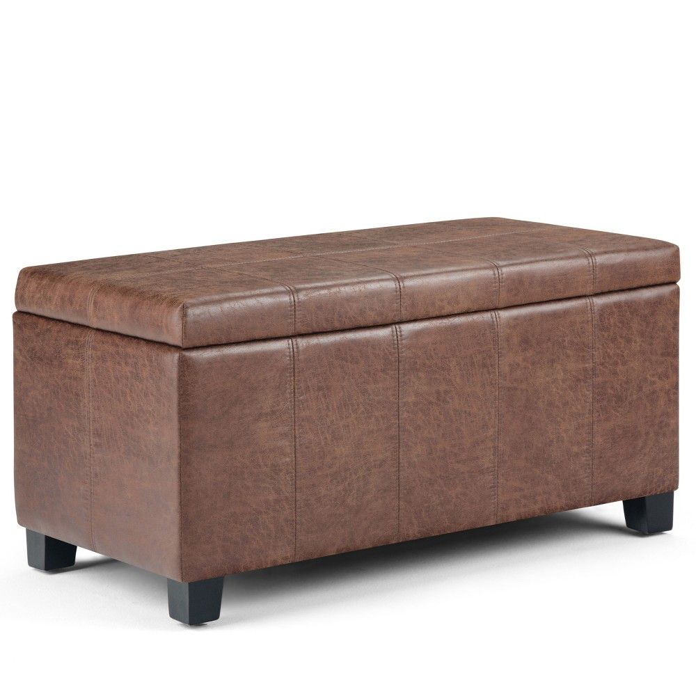36 Lancaster Storage Ottoman Bench Distressed Umber Brown Faux Air Leather Wyndenhall Storage Ottoman Bench Storage Ottoman Rectangle Storage