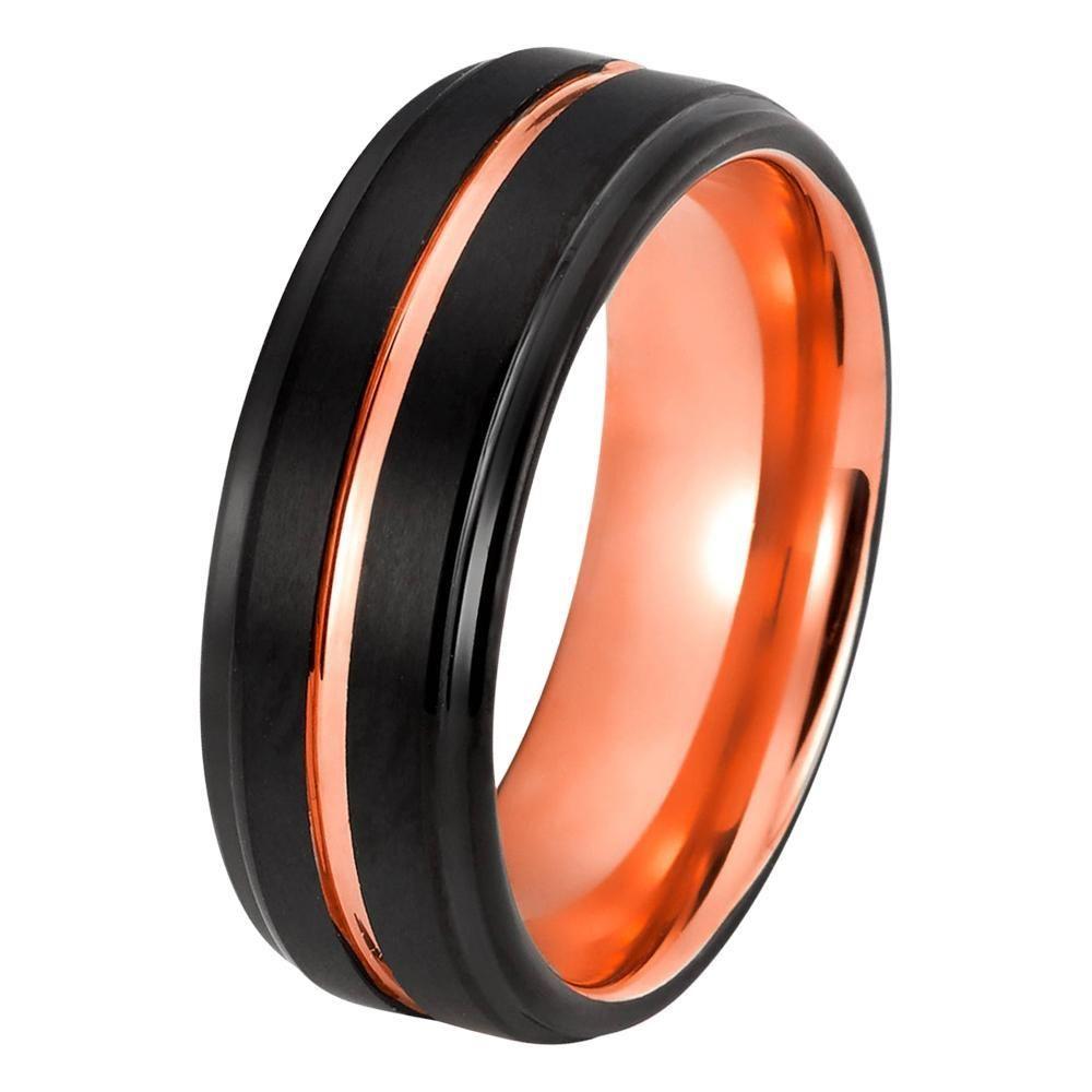 7582049d83316 Black Rose Gold Wedding Band Ring Brushed Tungsten Carbide 8mm 18K ...