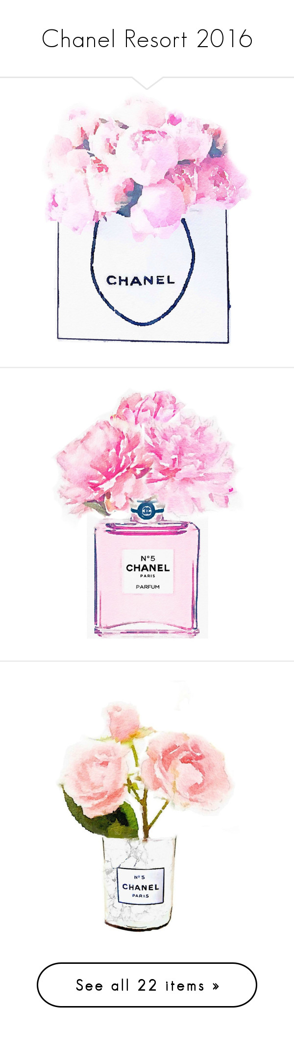 """Chanel Resort 2016"" by sylandrya ❤ liked on Polyvore featuring home, home decor, wall art, pink poster, chanel, paper wall art, pink wall art, pink home decor, perfume and flower paintings"