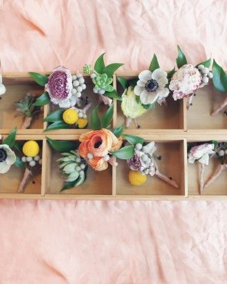 """See the """"The Boutonnieres"""" in our A Romantic Pastel-Colored DIY Wedding in a Barn in Texas gallery"""
