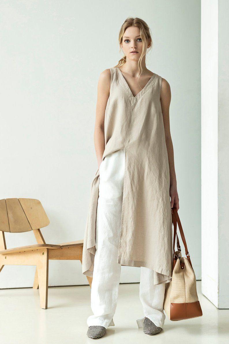 NEW Black linen tunic dress | sleeveless V neck dress | linen midi dress | linen summer dress #linentunic