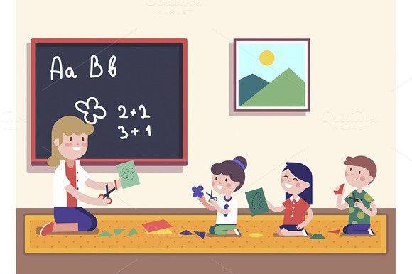 Kindergarten Teacher With Kids Kindergarten Teachers Learning