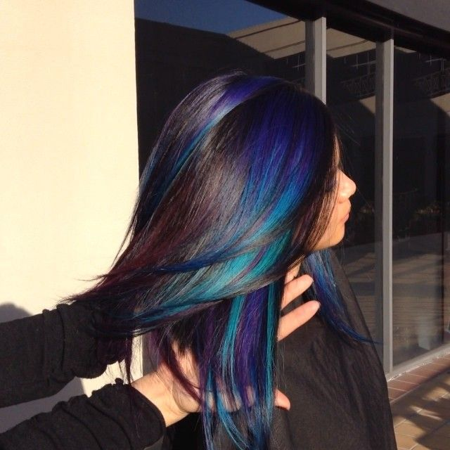 Black hair with blue and purple streaks