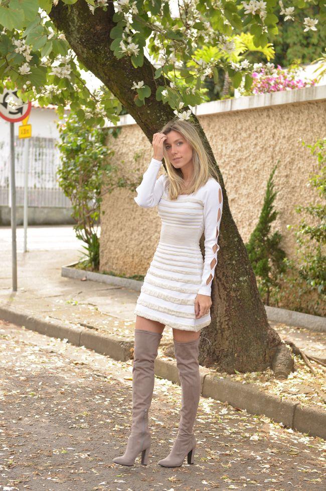 f51501f04 LOOK DO DIA: VESTIDO DE INVERNO E BOTA   Over The Knee   Pinterest