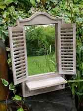 Large Shabby Chic Rustic Vintage Style Wall Shutter Window Mirror With Shelf Garden Mirrors Mirror With Shelf Mirror Decor