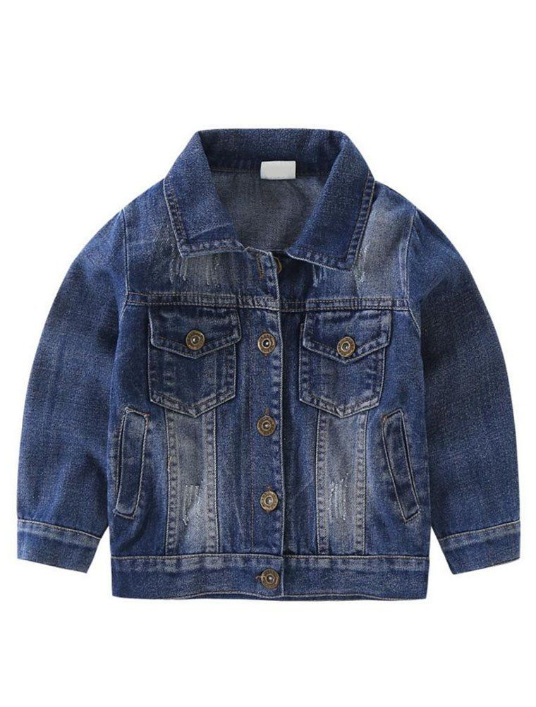 f0ca998a45f80 Abolai Baby Boys Basic Denim Jacket Button Down Jeans Jacket Top Style1  Blue 90   Read