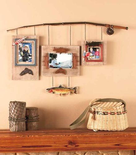 Fishing Rod Picture Frame Fishing Bathroom Decor Fishing Cabin Decor Cabin Decor
