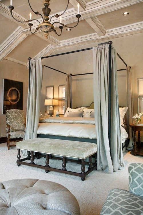 Master Bedroom Suite Elegance Relaxing Calm Neutrals Canopy Bed Tall White Trim Coffered Ceiling Bench