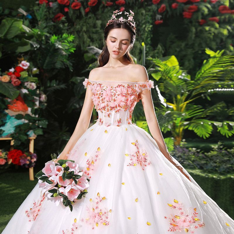 bc9406ee7ab44 Chic / Beautiful White Wedding Dresses 2018 Ball Gown Appliques Pearl Pink  Flower Crystal Pearl Sequins