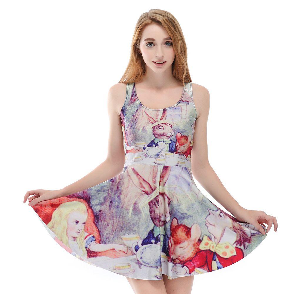 Drop shipping fashion women cartoon colorful painted sleeveless