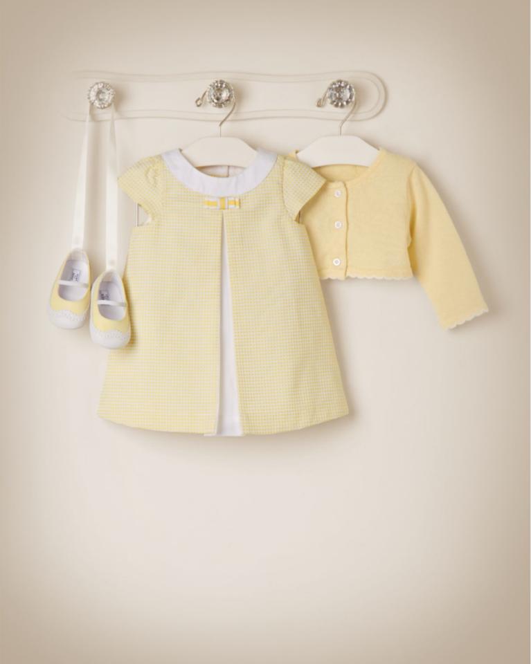 Janie and Jack 2015 Lemon Grove Lemon Belle Textured Dobby Dress in Light Lemon ($59), Cropped Cardigan in Light Lemon ($40), Soft Bow Headband in Light Lemon ($12), and Wing Tip Crib Shoe in Light Lemon ($32)
