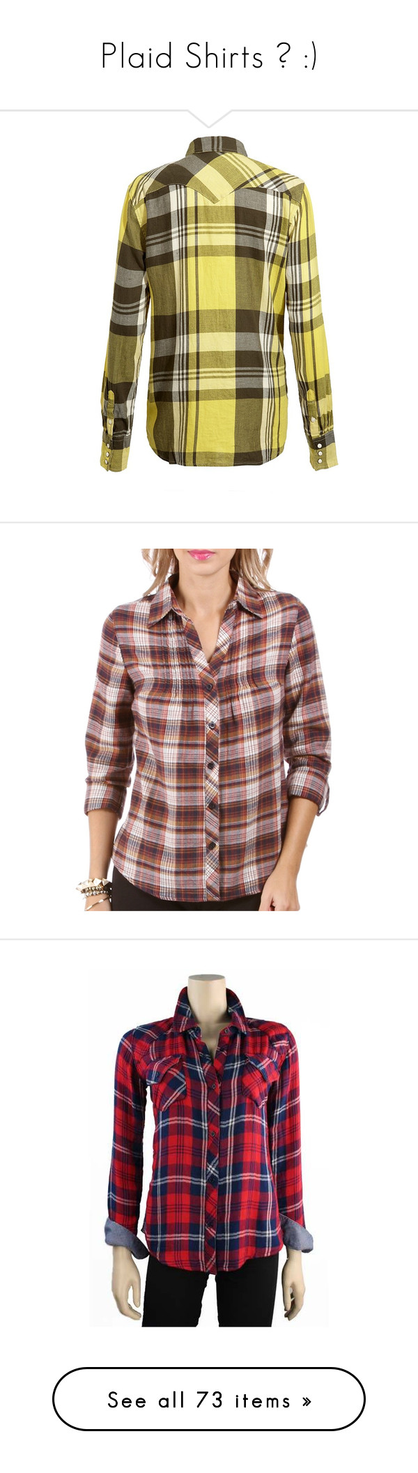 """Plaid Shirts ♥ :)"" by taltul123 ❤ liked on Polyvore featuring tops, cowboy shirt, brown shirt, cowgirl shirts, cotton plaid shirt, button shirts, blouses, cotton shirts, long sleeve tops and long sleeve cotton shirt"