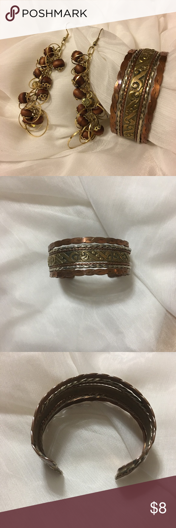Metal bracelet cuff and beaded earrings metal bracelets copper