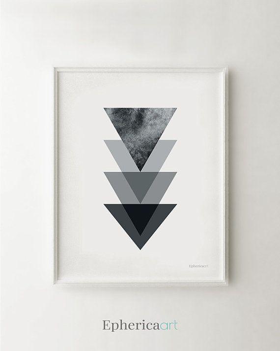 Black Triangles Geometric Art Minimalist White Print Modern For Office Decor Printable Wall By Ephericaart