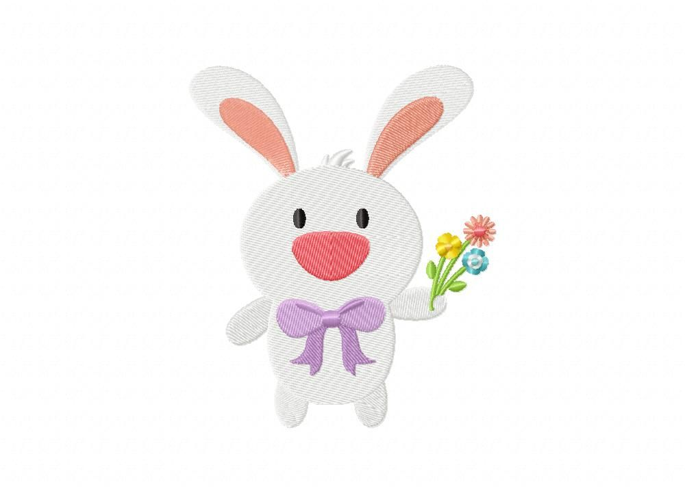 Easter Bunny Flowers Machine Embroidery Design