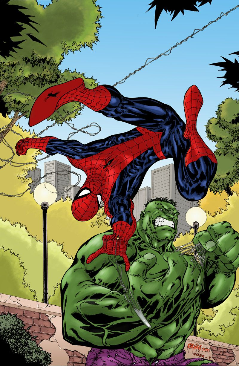 hulk fan art spiderman vs hulk by joshtempleton