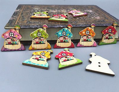 High Quality Wooden Cartoon Mushroom House Buttons Sewing Decoration Scrapbooking 30mm