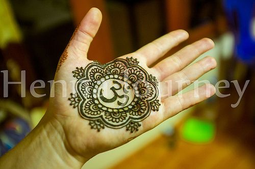 Mehndi Symbols Patterns And Meanings : Henna hand indian design with floral mandala om symbol
