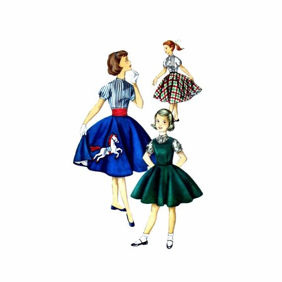 1950s Girls Jumper Blouse Skirt Simplicity 1741 Vintage Sewing Pattern