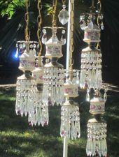 6lte Vintage beaded Brass hanging ROSE swag lamp chandelier lavander beads gilt