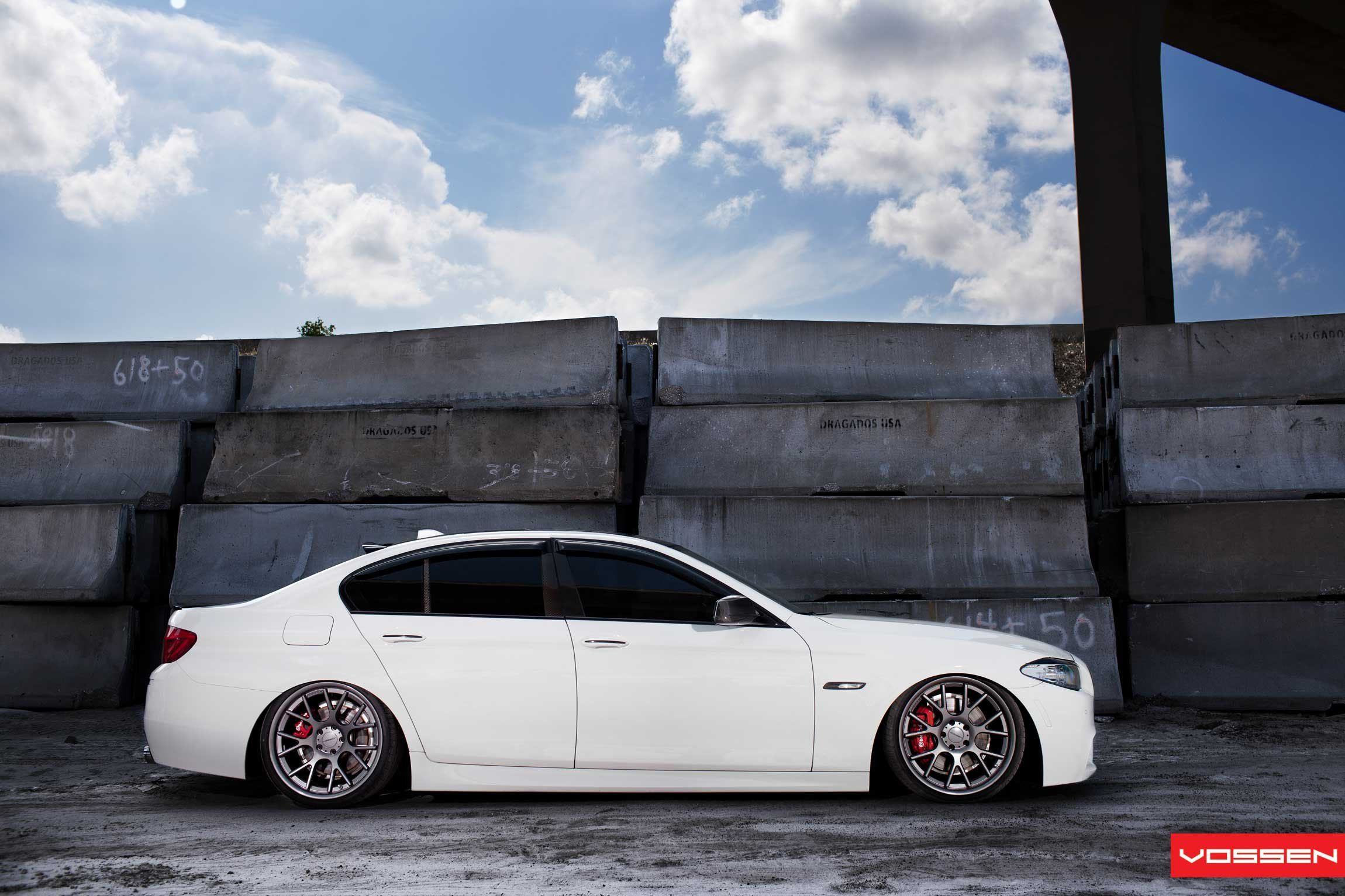 Lowered White Bmw 5 Series With Carbon Fiber Parts