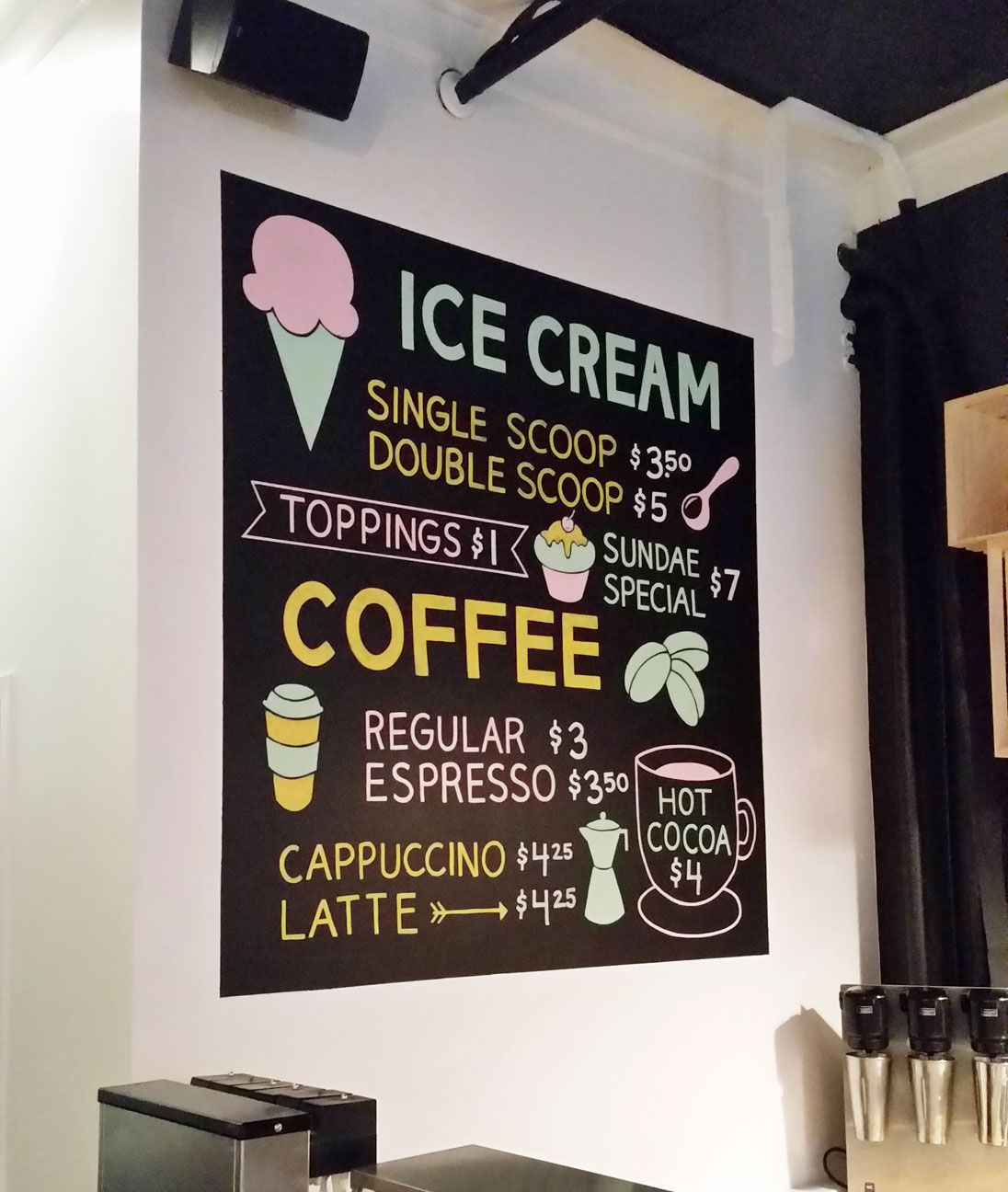 Hand Painted Chalkboard Ice Cream Menu For Ice Cream Shop In Lake