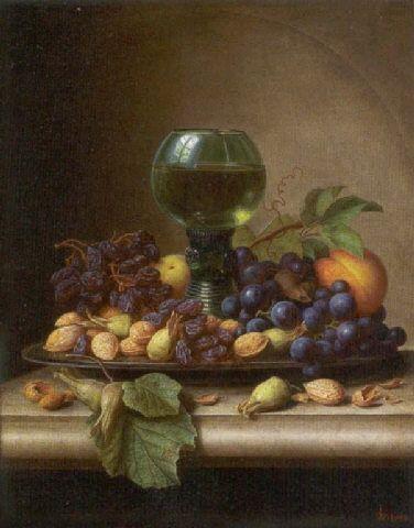 Peter Joseph Wilms - Stilleben mit einem Römer, Trauben, Mandeln und Haselnüssen.jpg