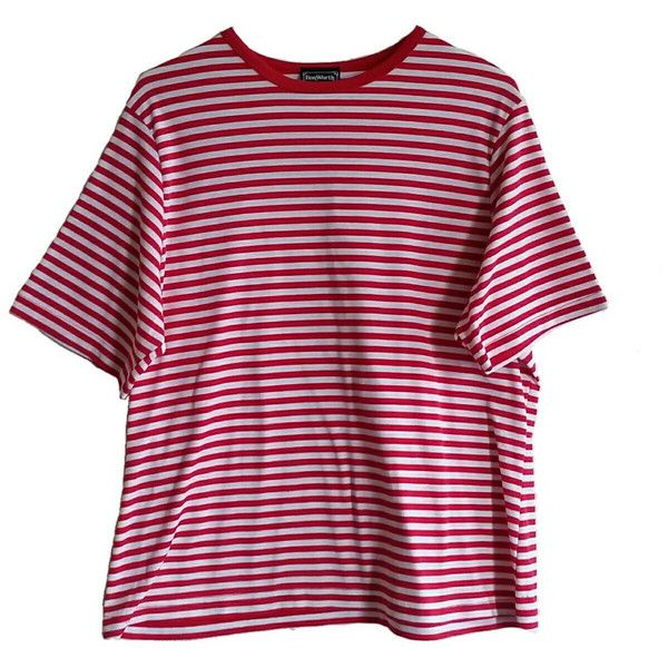 ($18) ❤ liked on Polyvore featuring tops, t-shirts, t shirt, 80s tees, red  stripe shirt, vintage t shirts and ...