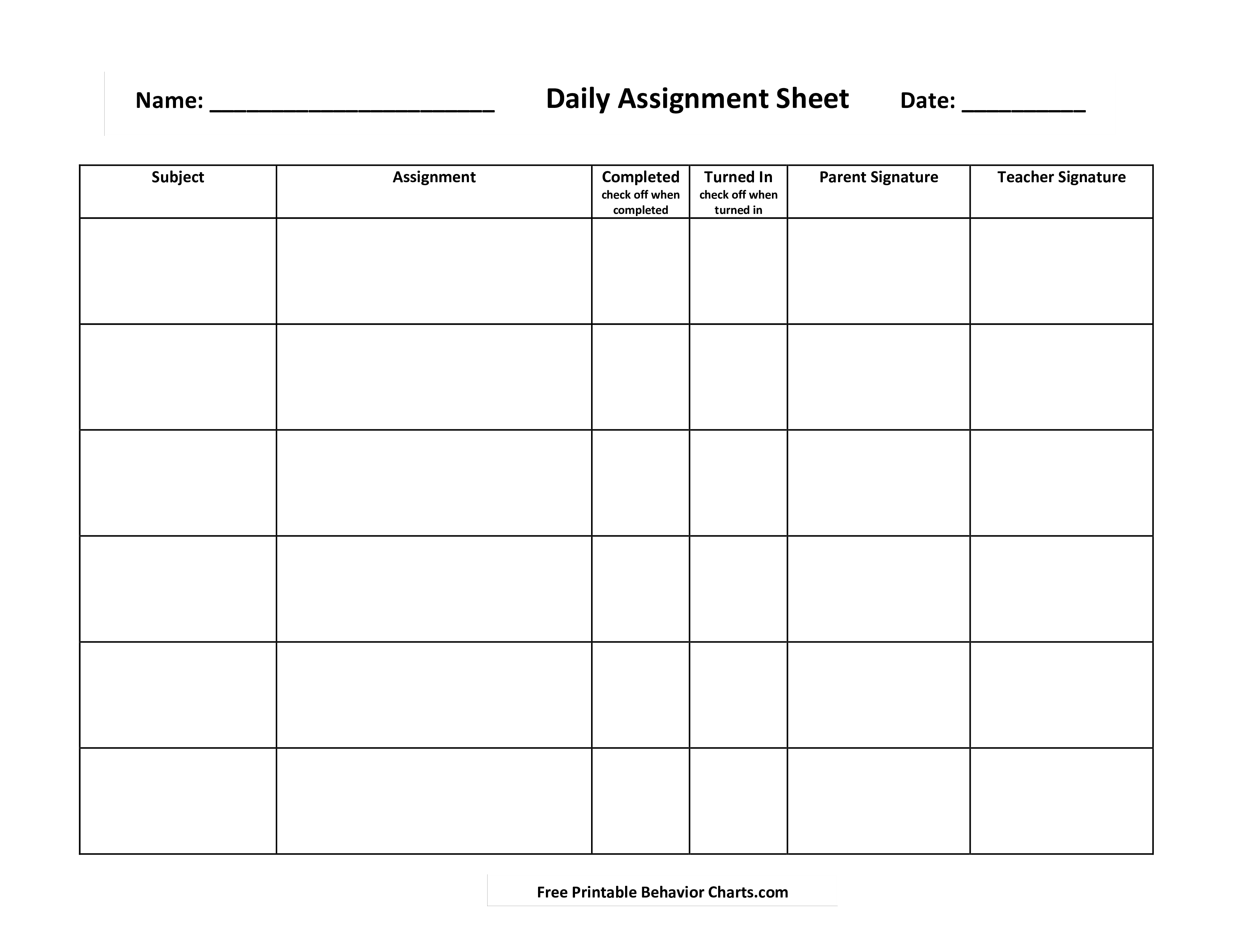 Daily Assignment How To Create A Daily Assignment Download This Daily Assignment Template Now Assignment Sheet Homework Checklist Templates