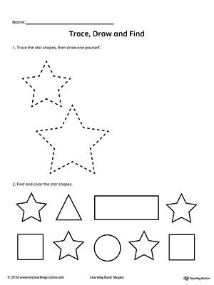 Trace Draw And Find Star Shape Shapes Worksheets Shapes
