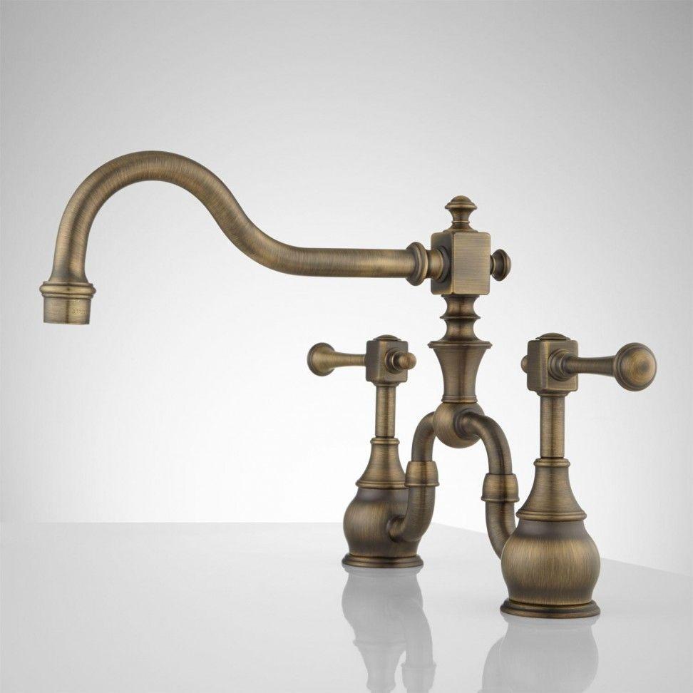 Vintage Bridge Kitchen Faucet Lever Handles Kitchen Antique Brass ...