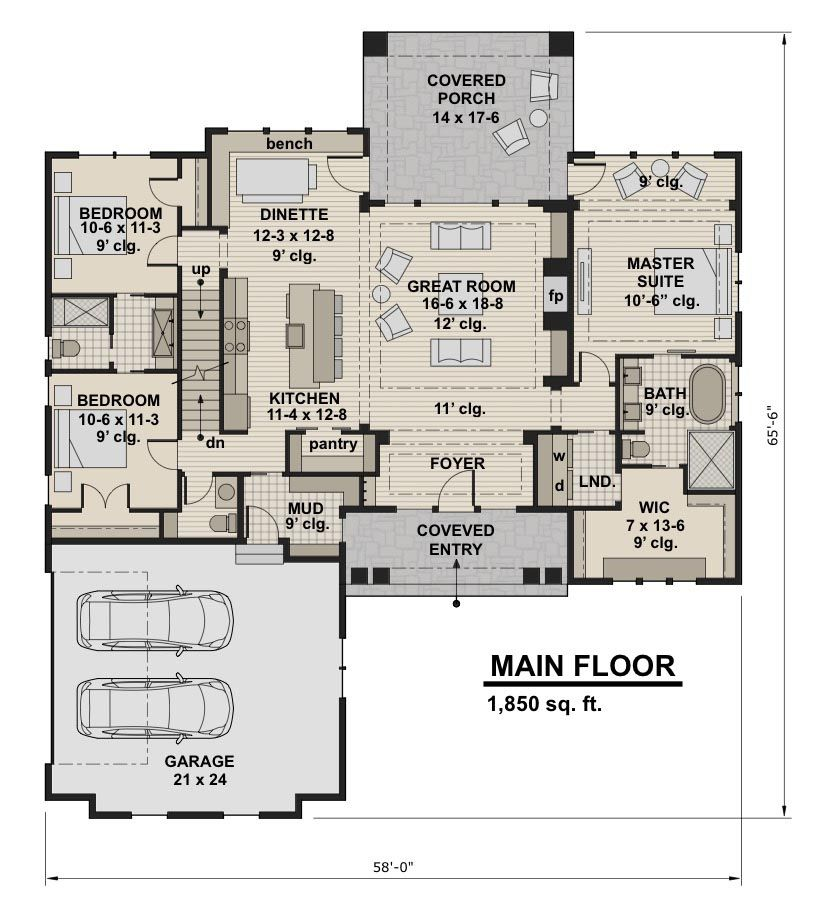 House Plan 098 00294 Craftsman Plan 2 300 Square Feet 3 Bedrooms 2 5 Bathrooms Craftsman Style House Plans Cottage Floor Plans New House Plans