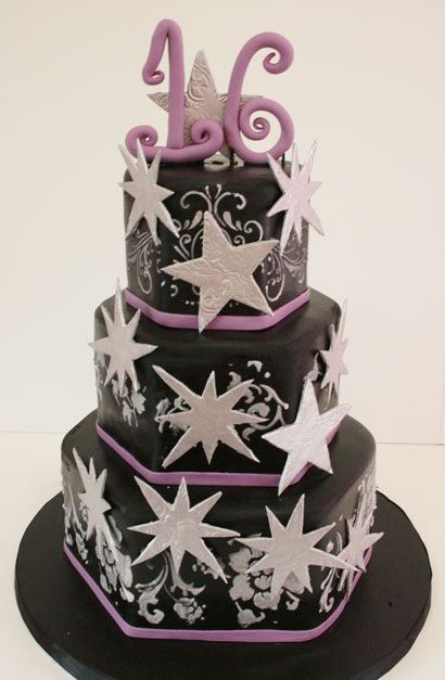 Sweet Sixteen Cake New Jersey Elegant Stars Custom Cakes Could Do In White Instead
