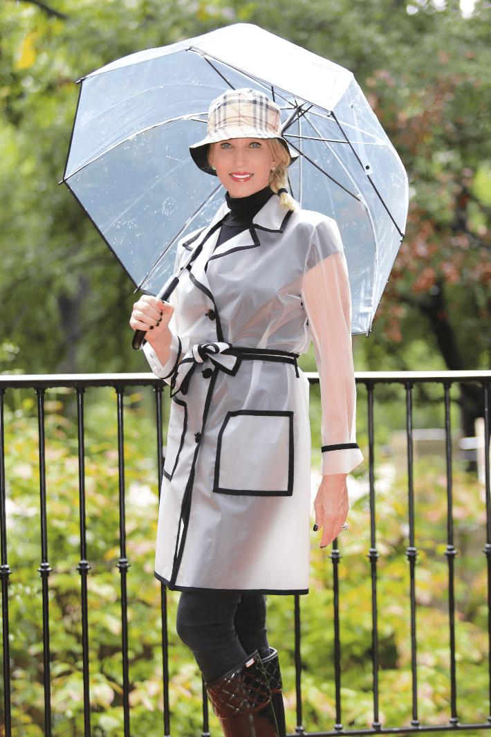 313e0f0c Dallas Fashion Blogger 'Truly Megan' wearing translucent rain coat and  burberry hat.