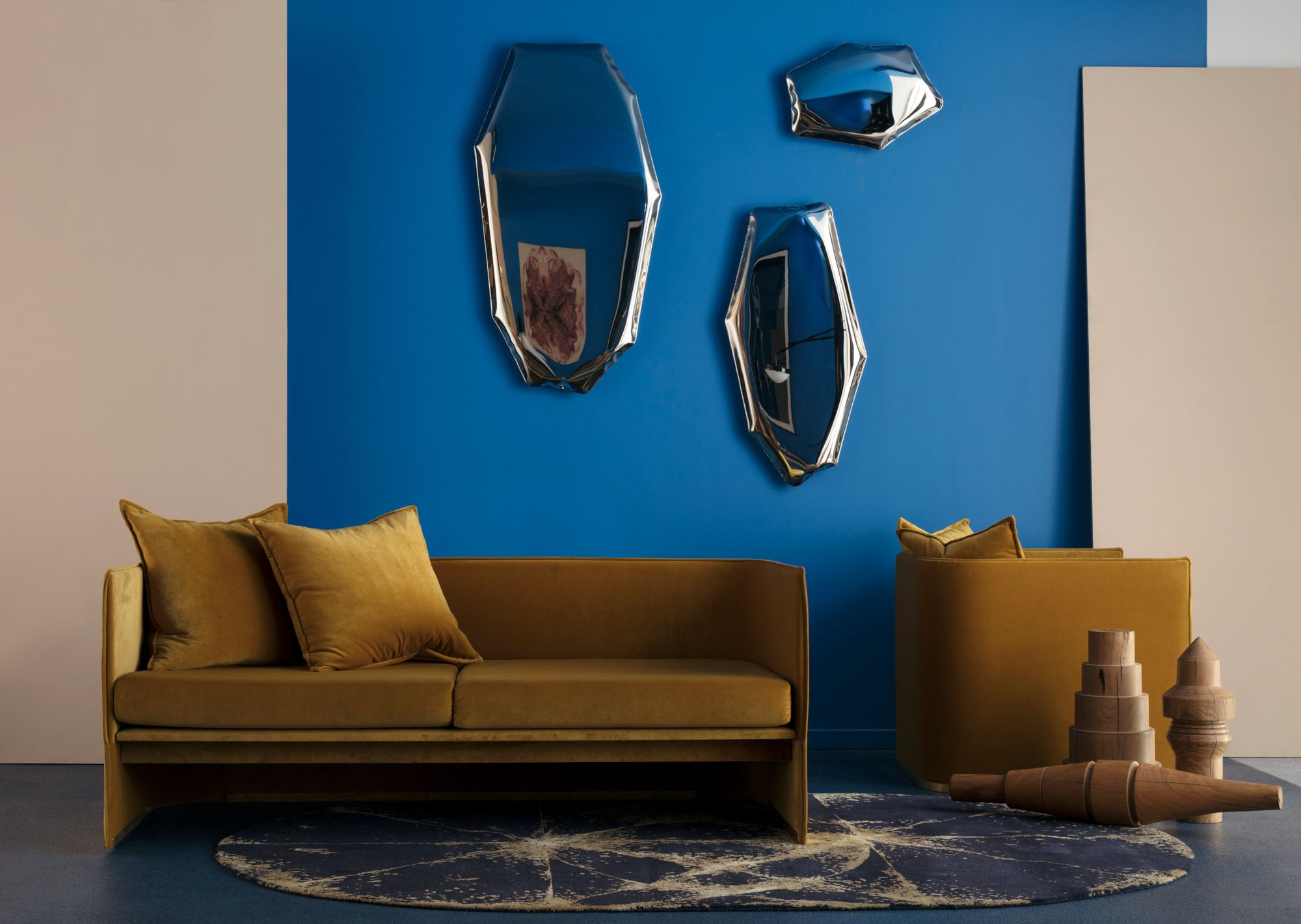 Abstract Mirrors Blue Walls Vintage Gold Couch Interior Styling By Emma Elizabeth Furniture Gold Couch Furniture Design
