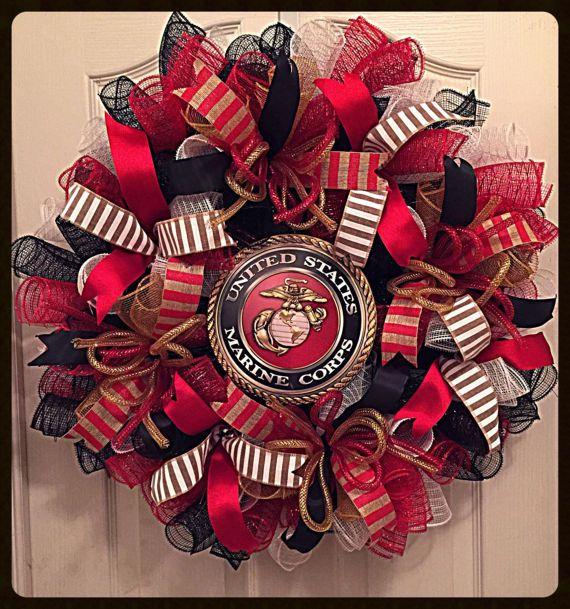 Photo of Marine Corps Deco Mesh Wreath/Military Wreath/Patriotic Wreath/Solider Wreath/US Marine Wreath/Veterans Wreath