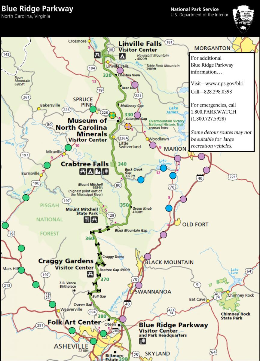 Blue Ridge Parkway Milepost Map Detour routes for Blue Ridge Parkway road closure near Asheville