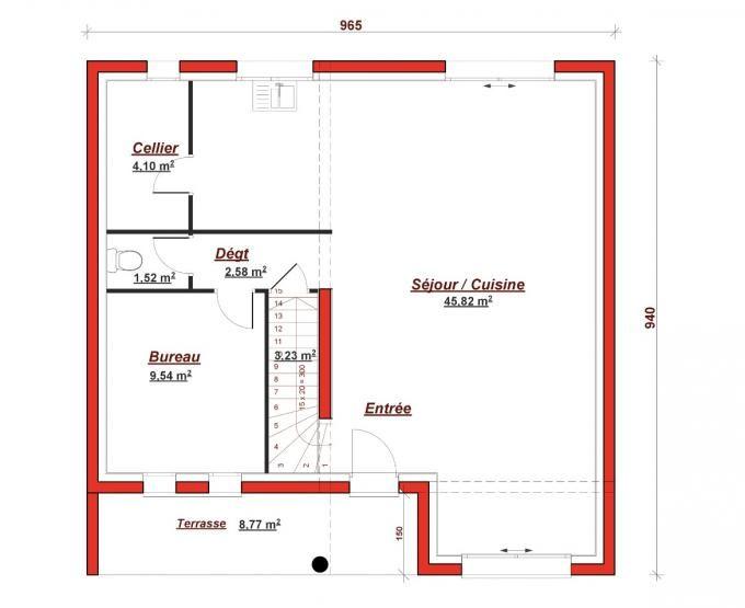 Cette maison moderne en R+1 aux volumes cubiques vous offre au rez - cuisine ouverte sur salon m