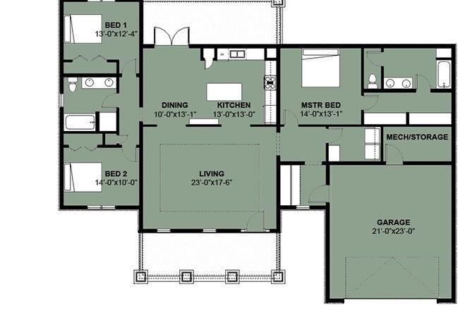 Luxury Caribbean Bungalow 3 Bedrooms 2 Baths Tropical Style Home Plans Bungalow Floor Plans House Plans Australia House Plans
