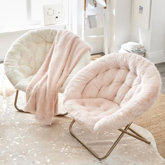 Ivory Polar Bear Faux-Fur Hang-A-Round Chair | PBteen #bedroomfurniture
