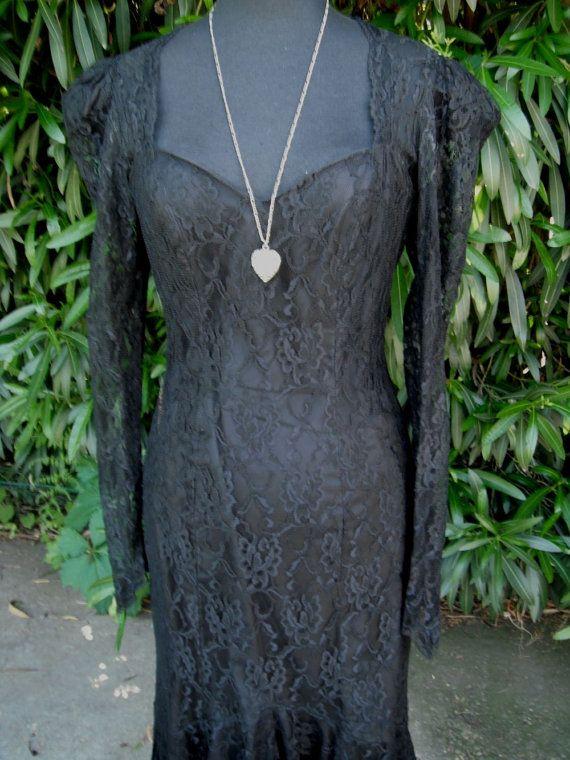 Vintage+1980's+Va+Va+Voom+Long+Black+Lace+Dress+by+KlassyKlassics,+$42.00